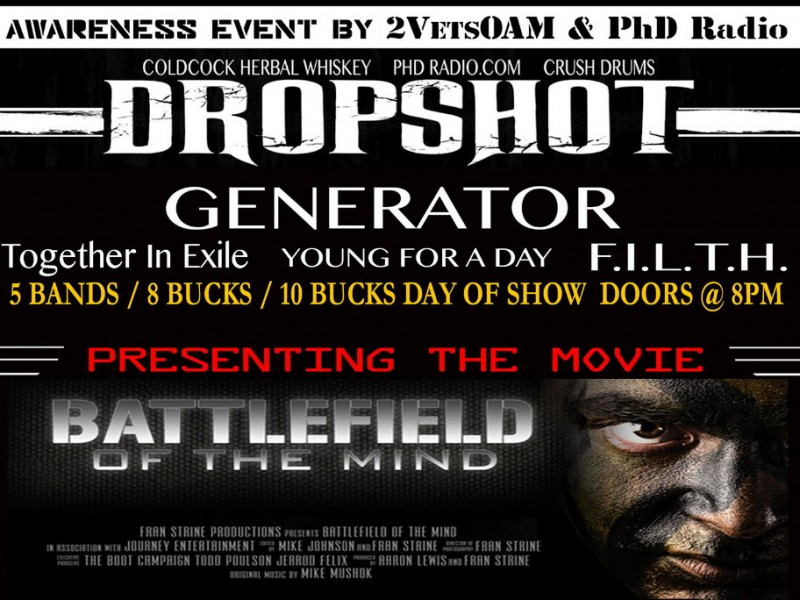 PhD Radio presents:  DROPSHOT – Generator – Together In Exile – Young For A Day – F.I.L.T.H.